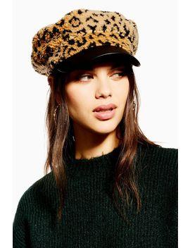 Leopard Print Borg Baker Boy Hat by Topshop