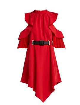 Cut Out Ruffle Sleeve Belted Mini Dress by Self Portrait
