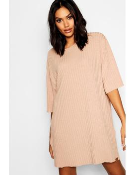 Rib Side Split Oversized T Shirt Dress by Boohoo