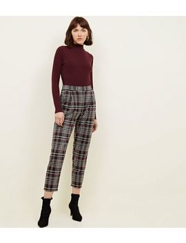 Black Check Pull On Trousers by New Look