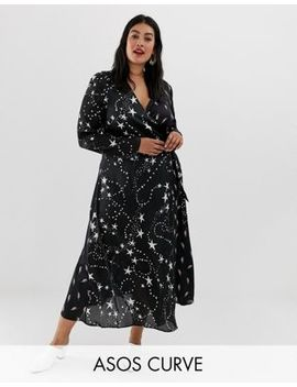 Asos Design Curve Wrap Maxi Dress In Star And Lightening Bolt by Asos Design