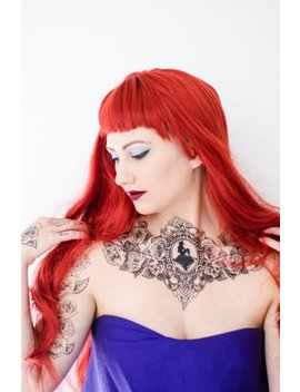 The Little Mermaid Silhouette Rose Chest Tattoo by Etsy