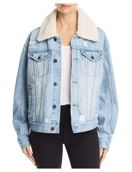 Sherpa Fleece Collar Denim Jacket by Free People