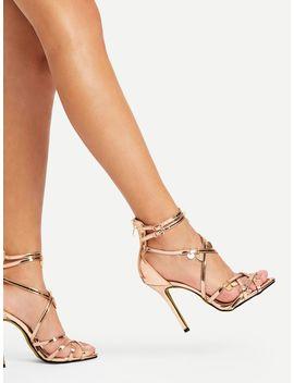 Sequin Charm Detail Back Zipper Pu Heels by Sheinside
