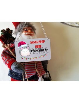Chinchillas Christmas Mini Metal Sign Decoration, Cage Sign Size 8.5 X 5.5 Cm by Etsy