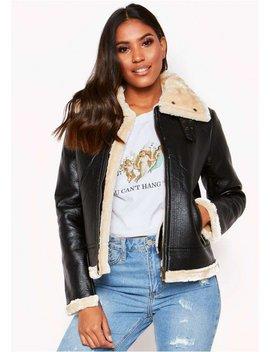 Black Cream Collar Faux Fur Aviator Jacket by Missy Empire
