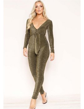 Georgina Gold Glitter Tie Front Jumpsuit by Missy Empire