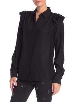 Ruffle Silk Long Sleeve Blouse by Frame Denim