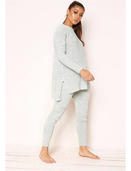 Anya Grey Knit Jumper Loungewear Set by Missy Empire