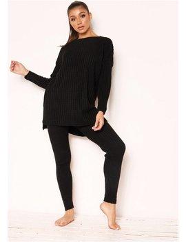 Anya Black Knit Jumper Loungewear Set by Missy Empire