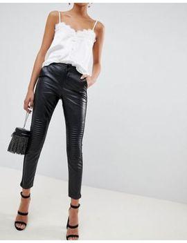 Pantalones De Efecto Cuero En Negro De Outrageous Fortune by Asos