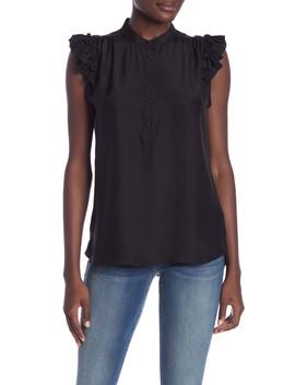 Ruffled Sleeve Silk Blouse by Frame Denim