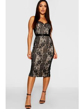 Eyelash Lace Detail Midi Dress by Boohoo