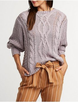Oversize Cable Knit Sweater by Charlotte Russe