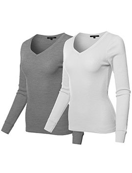 Awesome21 Women's Basic Solid Long Sleeves Fitted Thermal Top by Awesome21
