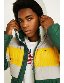 Tommy Jeans Rugby Stripe Yellow Puffer Jacket by Tommy Jeans