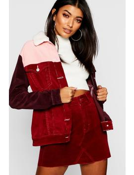 Colourblock Borg Collar Cord Jacket by Boohoo