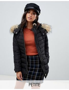 New Look Petite Padded Coat In Black by New Look Petite