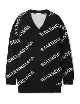 Oversized Pullover Aus Einer Wollmischung Mit Intarsienmotiv by Balenciaga