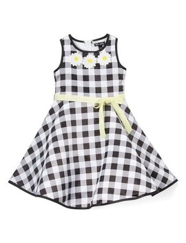 Black & White Gingham Daisy Sleeveless A Line Dress   Girls by Zulily
