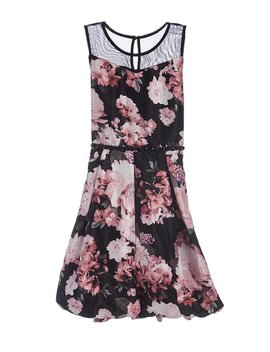 Black &Amp; Blush Floral Mesh Accent Dress   Girls by Speechless