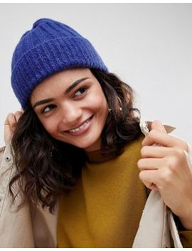 Asos Design Rib Turn Up Beanie In Colbolt Blue by Asos Design