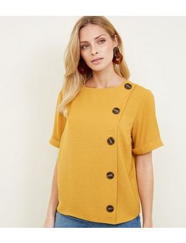 Yellow Button Side Linen Look Top by New Look