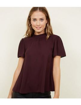 Dark Purple Gathered Detail High Neck Blouse by New Look