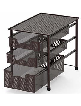 Simple Houseware Stackable 3 Tier Sliding Basket Organizer Drawer, Bronze by Simple Houseware