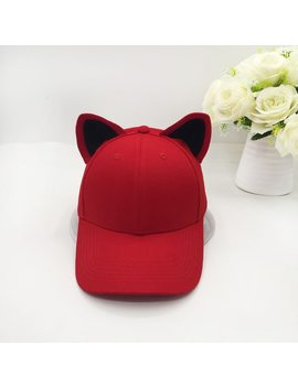 The New Cat Ears Baseball Cap Made Of Pure Cotton Equestrian Cap Topi Female Cute Hat by Hu Kai Li