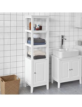 Haotian White Floor Standing Tall Bathroom Storage Cabinet With 3 Shelves And 1 Door,Linen Tower Bath Cabinet, Cabinet With Shelf (Frg205 W) by Haotian