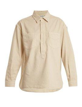 Point Collar Half Button Denim Shirt by Saint Laurent