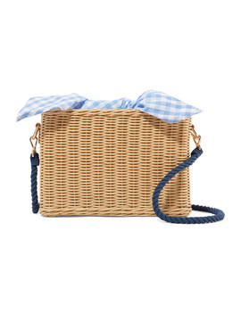 Chloe Wicker And Gingham Cotton Canvas Shoulder Bag by Kayu