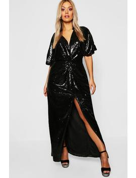 Gemma Collins Kimono Twist Sequin Maxi Dress by Boohoo