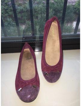Vionic Orthaheel Minna Merlot Suede Snake Print Cap Toe Ballet Flats Shoes 6.5 by Vionic