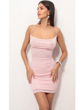 Lace Back Bodycon Dress In Sparkling Rosé by Lucy In The Sky