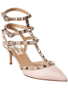 Valentino Cage Rockstud 65 Ankle Strap Leather Pump by Valentino