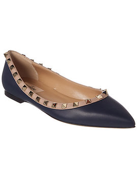 Valentino Rockstud Leather Ballet Flat by Valentino