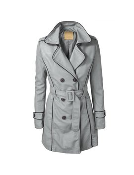 Mbj Womens Jet Setter Faux Leather Trench Coat by Made By Johnny