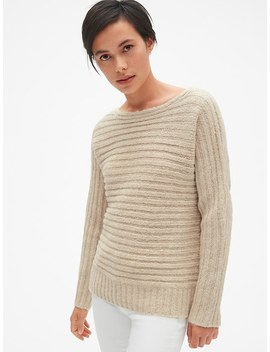 Horizontal Ribbed Boatneck Sweater In Wool Blend by Gap