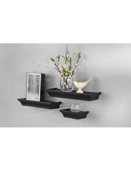 """Mainstays 3 Piece Decorative Shelf Set 6""""W, 12""""W, 14""""W, Black by Mainstays"""