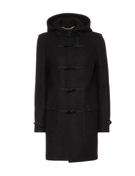 Hooded Wool Toggle Coat by Saint Laurent