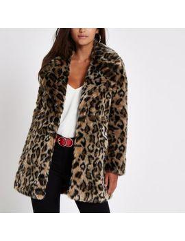 Petite Brown Leopard Print Faux Fur Coat by River Island