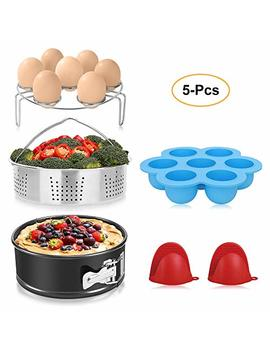 Bayka Instant Pot Accessories Set With Stainless Steel Steamer Basket, Non Stick Springform Pan, Egg Bites Molds, Steamer Rack, Mini Mitts, Fits 6,8 Qt Instant Pot, Ideal 5 Pcs Set For Pressure Cooker by Bayka