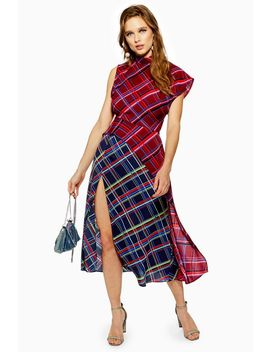 Petite Clash Check Midi Dress by Topshop