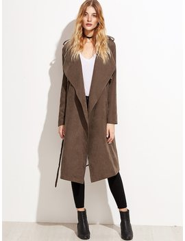 Brown Suede Layered Wrap Coat by Shein
