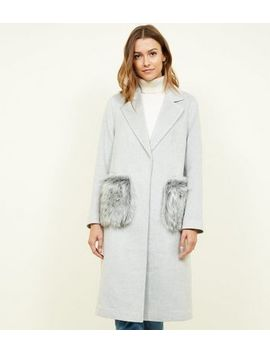 Grey Faux Fur Pocket Longline Coat by New Look