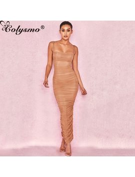 Colysmo New Long Dress Women Summer Spaghetti Strap Dress Strapless Kakhi Party Dress Elegant Skinny Dresses Sleeveless Sexy by Colysmo