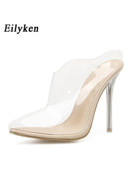 Eilyken 2018 New Summer Pvc Transparent Women Slippers Pumps Sandals Thin Heel Pointed Toe Slippers Lady Shoes Size 35 42 by Eilyken