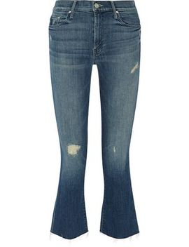 The Insider Cropped Distressed High Rise Flared Jeans by Mother